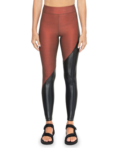 Toluca Shantung High-Rise Two-Tone Leggings