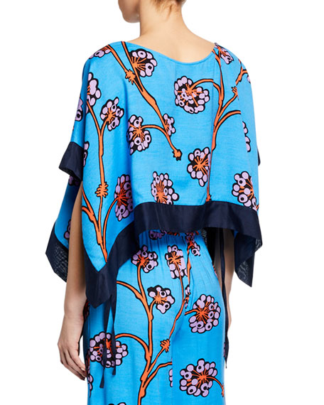 Banded Hanky Cropped Floral Coverup Top