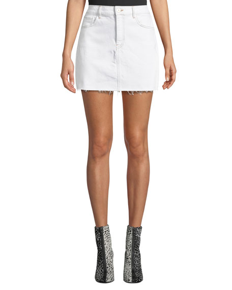 3x1 Celine High-Waist Frayed Denim Short Skirt