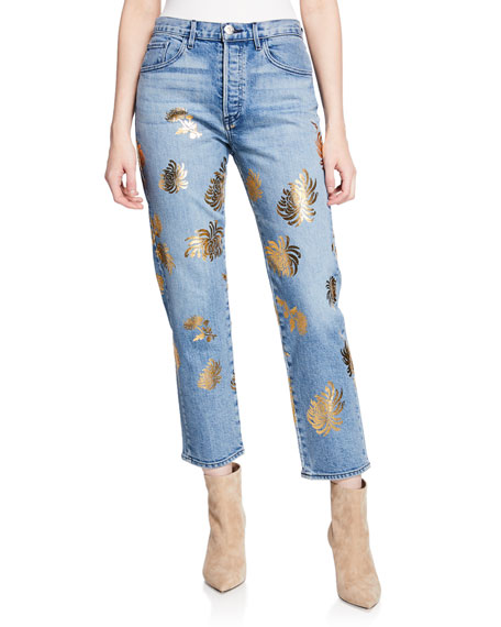 3x1 Higher Ground Cropped Straight Jeans with Floral
