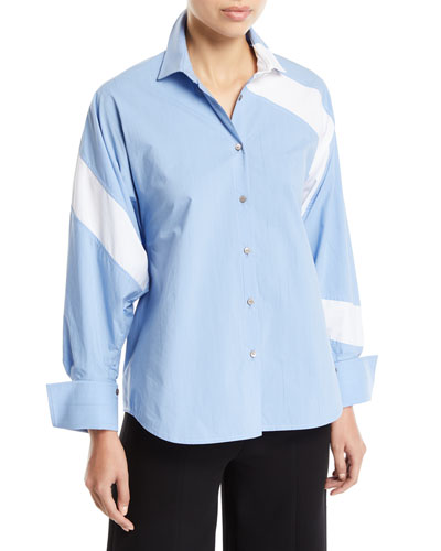 Solo Striped Cotton Paneled Button-Front Shirt