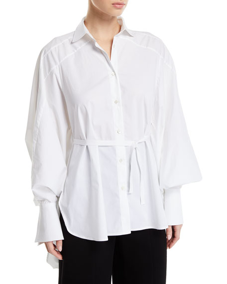 Streep Draped-Back Cotton Button-Front Shirt