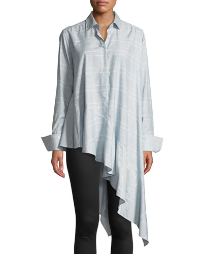 Spicy Long-Sleeve Button-Front Asymmetric Shirt