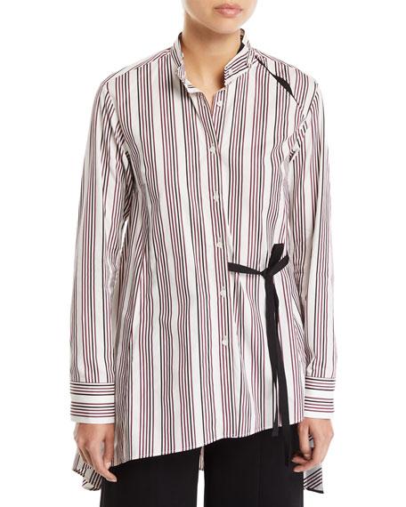 Split Striped Button-Up Draped-Back Cotton Shirt