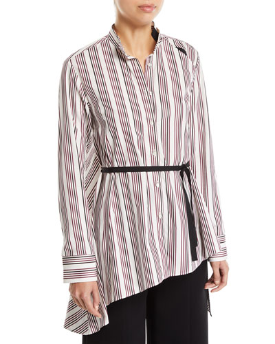 Split Striped Button-Up Draped-Back Cotton Shirt