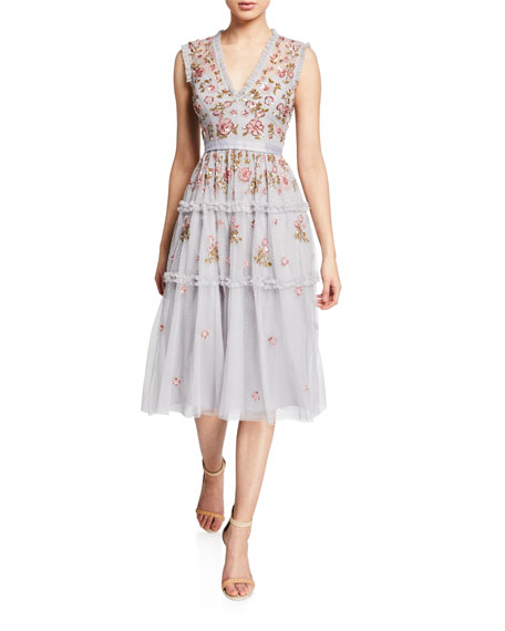 Needle & Thread Carnation Sequined Ruffle Tulle Cocktail