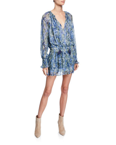 Brinley Tassel-Tie Long-Sleeve Smocked-Waist Patterned Mini Dress