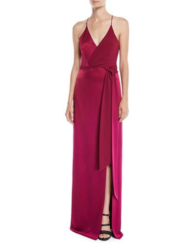Sleeveless Satin Wrap Gown