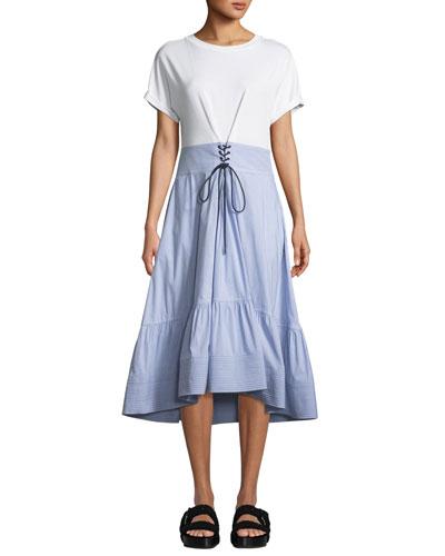 Crewneck T-Shirt Dress with Corset Waist