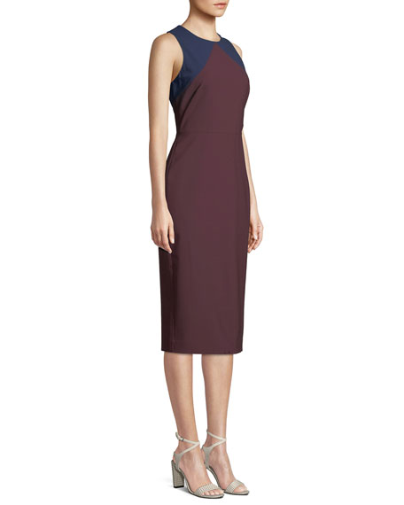 Sleeveless Tailored Colorblock Midi Dress