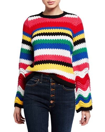 Alivia Textured Bell-Sleeve Pullover
