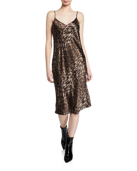 L'Agence Jodie Leopard V-Neck Silk Slip Dress