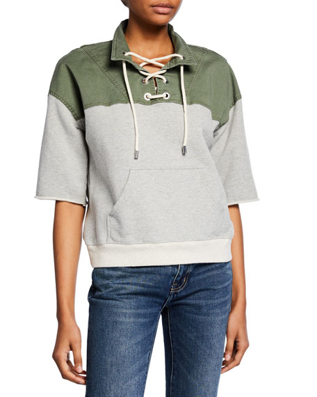 Derek Lam 10 Crosby Short-Sleeve Lace-Up Pullover Sweatshirt