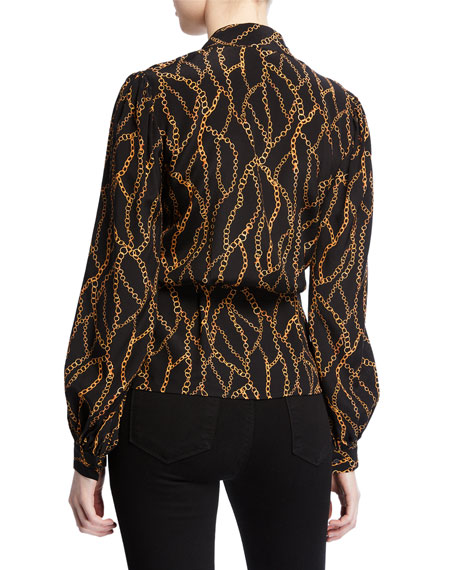 Cara Chain-Print Silk Wrap Blouse