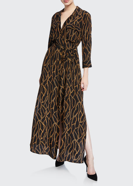L'Agence Cameron Long-Sleeve Belted Chain-Print Silk Shirtdress