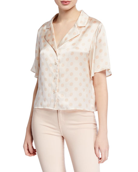 L'agence Tops THEO BOXY DOT-PRINT CROPPED BLOUSE