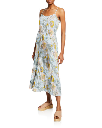 Marine Garden Pleated Long Cami Dress