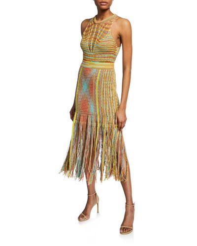 Sleeveless Crochet Midi Dress with Fringe Hem