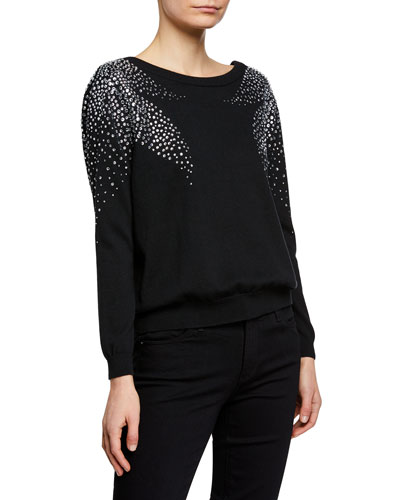 Flore Pullover Sweater with Crystal Accents
