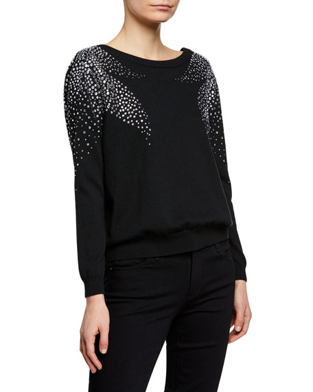 Ba&sh Sweaters FLORE PULLOVER SWEATER WITH CRYSTAL ACCENTS