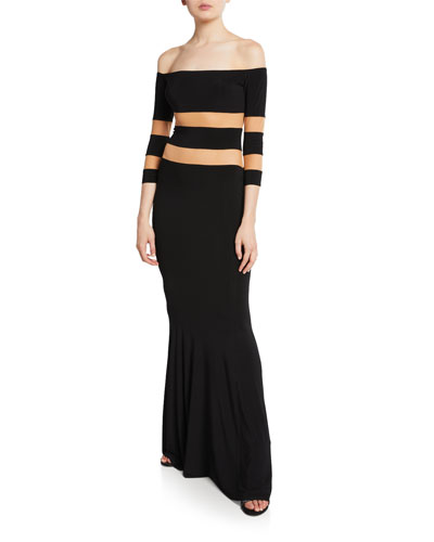 Spliced Off-the-Shoulder 3/4-Sleeve Fishtail Evening Gown