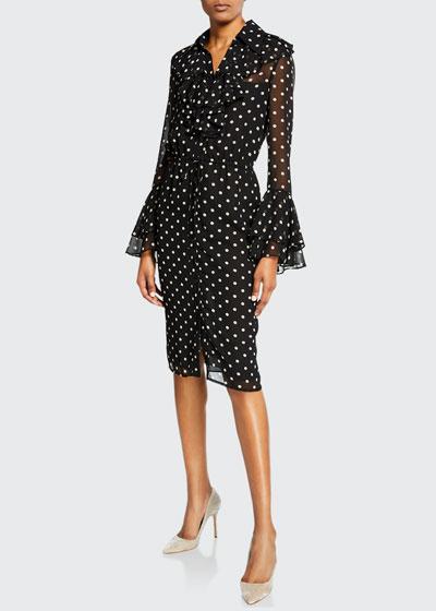 Polka-Dot Long-Sleeve Ruffle Jabot Shirtdress