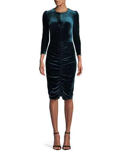 Bruna Ruched Velvet Bracelet-Sleeve Cocktail Dress