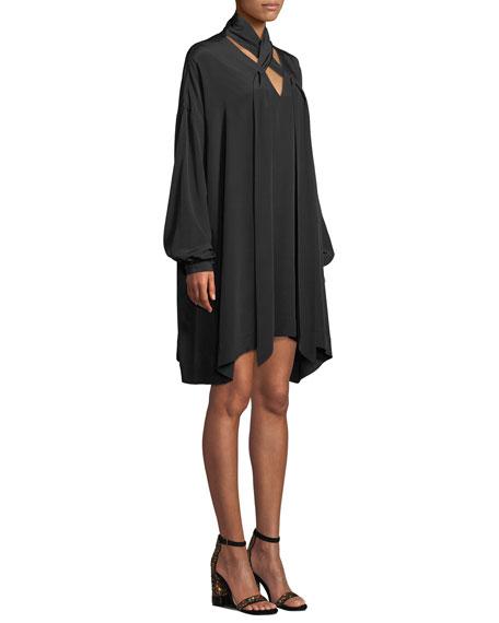 Jessamine Lace-Up Silk Long-Sleeve Short Dress