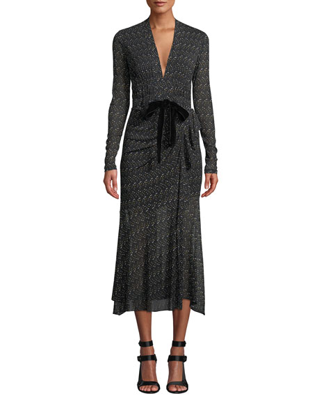 Crystal Tie-Front Printed Long Cocktail Dress