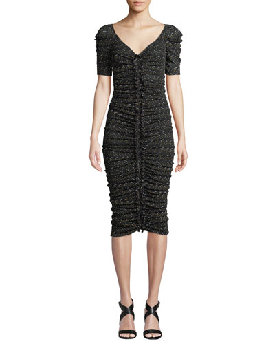 Romana Ruched Dot-Print V-Neck Midi Cocktail Dress