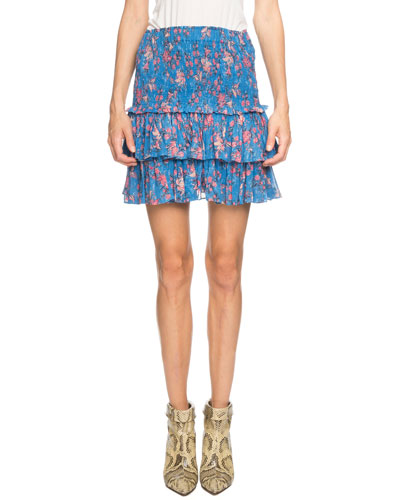 Naomi Smocked Floral Tiered Mini Skirt