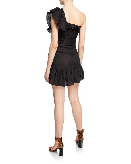 Teller One-Shoulder Ruffle-Accented Mini Dress