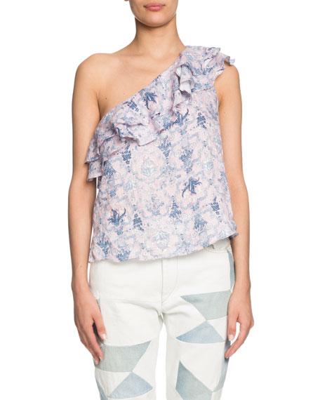 Etoile Isabel Marant Thomy One-Shoulder Patterned Ruffle Top