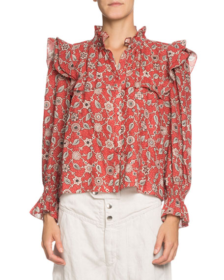 Etoile Isabel Marant Tedy Printed Linen High-Neck Ruffle