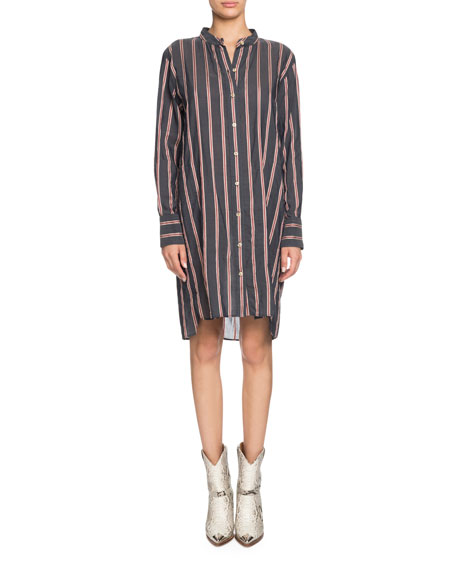 a050894e54 Etoile Isabel Marant Yucca Striped Band-Collar Long-Sleeve Shirt