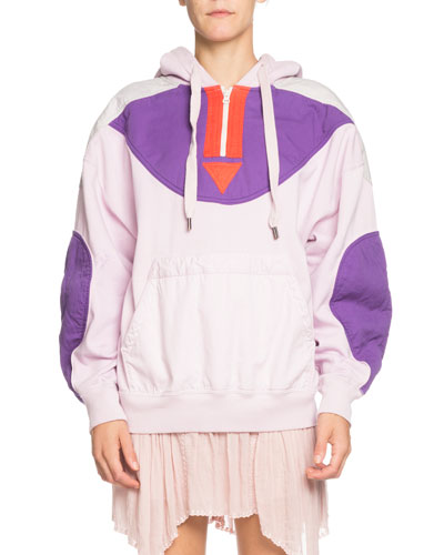 Nansel Quilted Pullover Quarter-Zip Hoodie