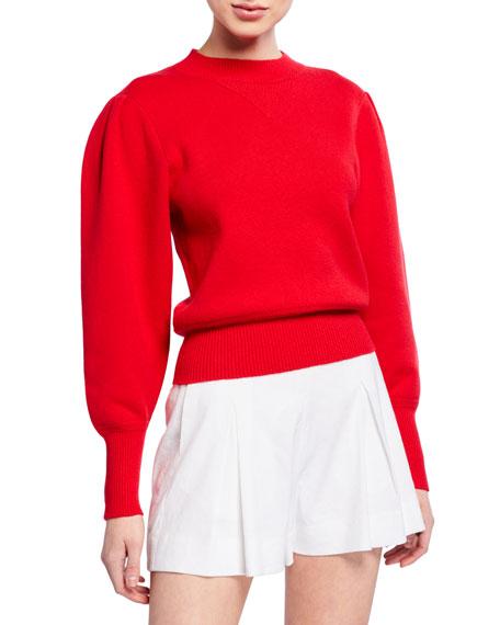 Etoile Isabel Marant Sweaters KELAYA PUFF-SLEEVE CREWNECK SWEATER