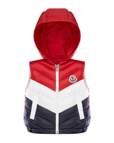 Tricolor Chevron Quilted Hooded Vest, Size 12M-3
