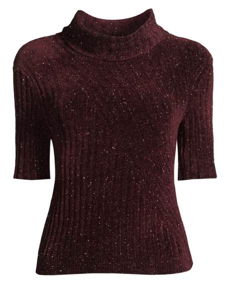 Fitz Short-Sleeve Turtleneck Sweater