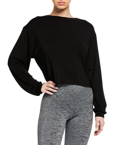 Breeze Cropped Open-Back Sweatshirt