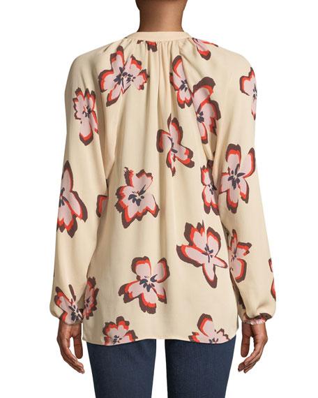 Jules Floral-Print V-Neck Long-Sleeve Blouse