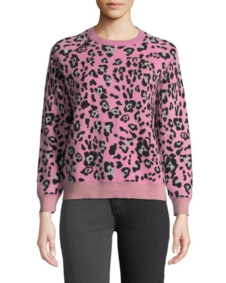 Metallic Leopard-Print Wool Crewneck Sweater in Peony