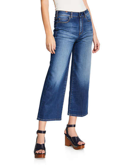 NOTIFY Silene High-Rise Cropped Wide-Leg Jeans in Medium Blue