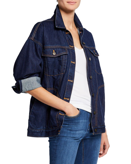 NOTIFY Big J Oversized Denim Trucker Jacket in Blue