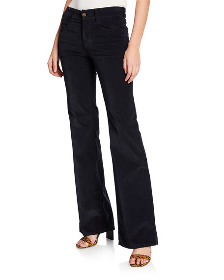 NOTIFY Dahlia High-Rise Velvet Flare Jeans in Dark Blue