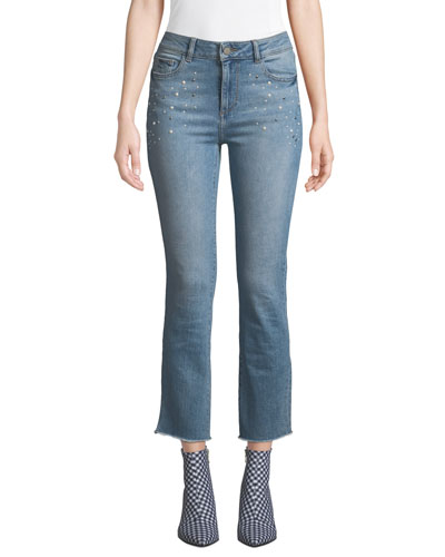 Mara Mid-Rise Embellished Ankle Skinny Jeans