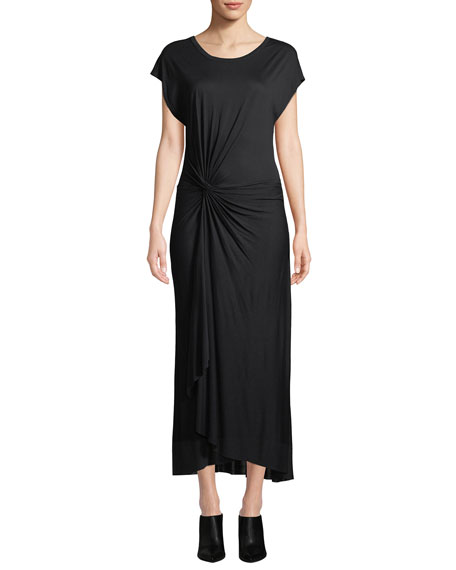A.L.C. Emile Short-Sleeve Ruched Maxi Dress