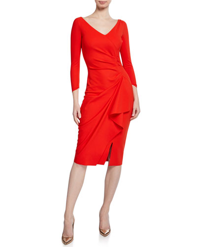 Kloty V-Neck 3/4-Sleeve Dress with Asymmetric Side Drape