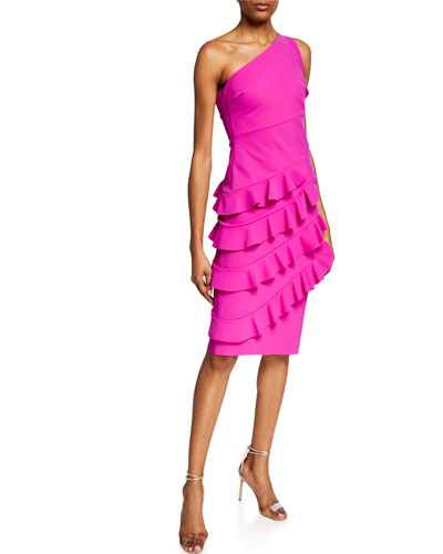 Matte One-Shoulder Cocktail Dress with Layered Ruffle Skirt