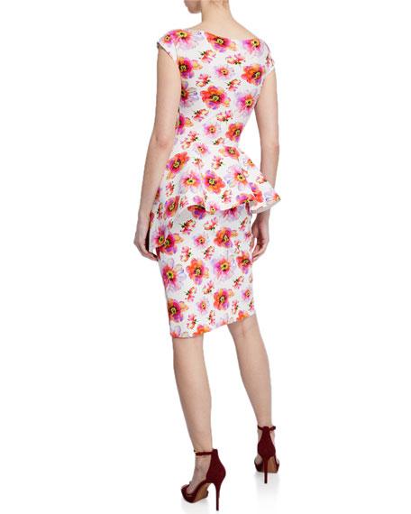 Etheline Floral-Print Boat-Neck Cap-Sleeve Peplum Dress